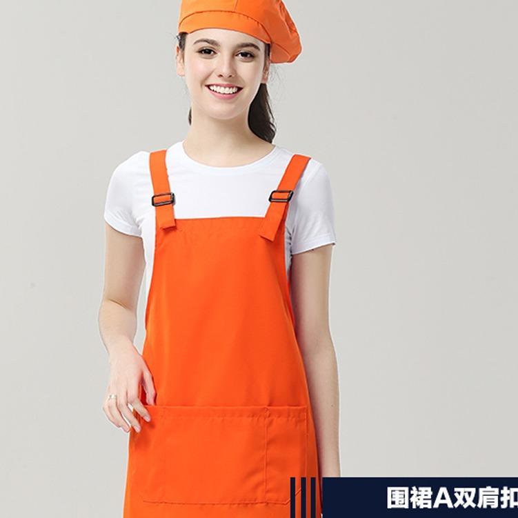 厂家批发新款防水防油耐脏双肩扣通款围裙35-P7311 餐厅围裙定制