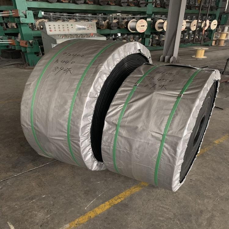 耐高温防撕裂钢丝绳胶带 钢丝绳大倾角挡边输送带 接头