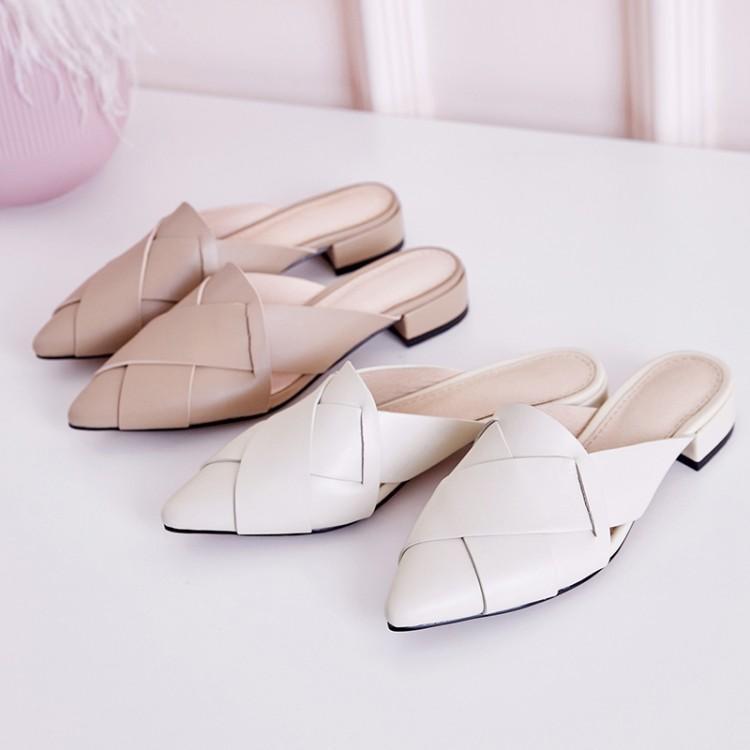 爱美成女鞋生产厂家尖头编织包头平底凉拖鞋女鞋代加工厂