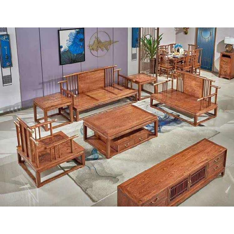 启航木业红木刺猬紫檀新中式客厅家具