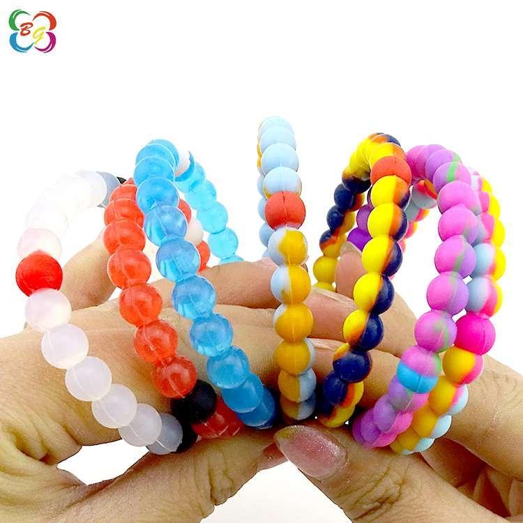 硅胶珠子手环厂家直销博高硅胶青少年饰品手环订制批发