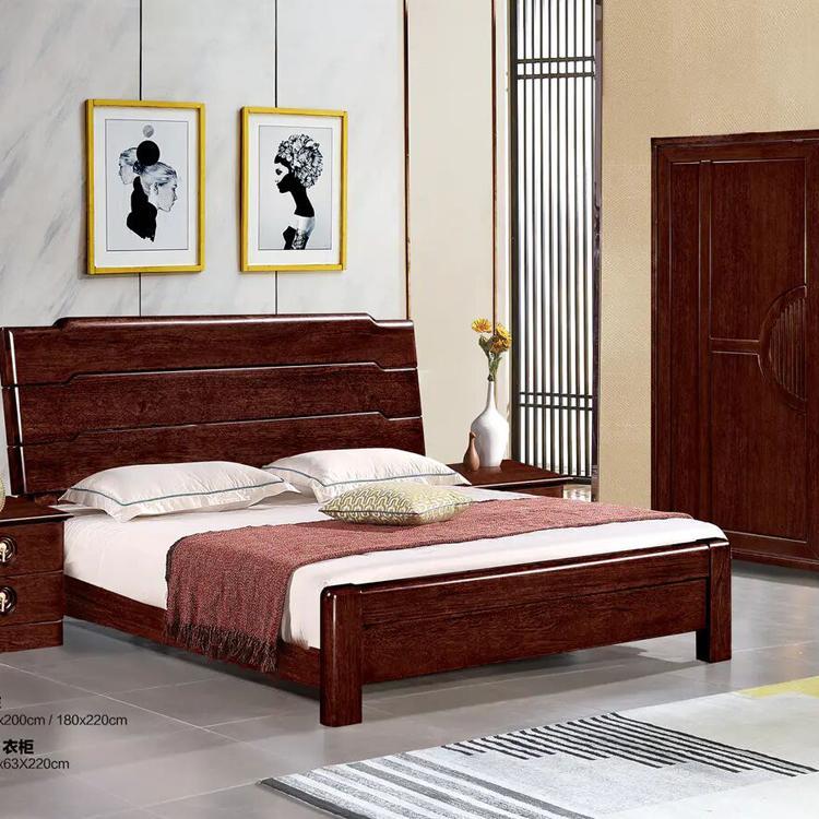 双人床厂 思宇主卧室双人床 实木框架-颜色多选