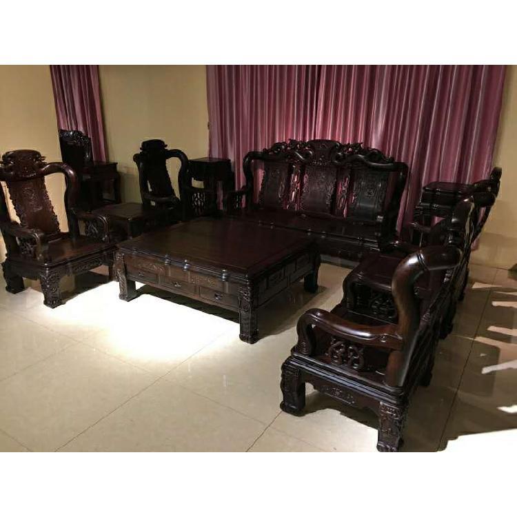 启航木业红木客厅家具禅意餐桌茶桌衣柜