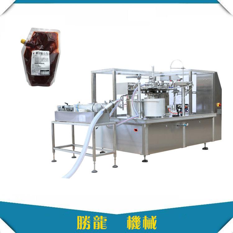 酱料给袋灌装机-厂家定制给袋酱料吸嘴袋灌装机-胜龙机械