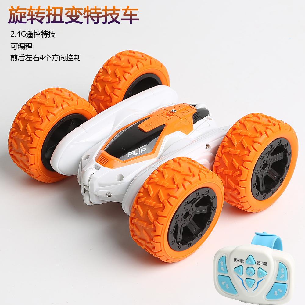 手表遥控特技车双面旋转翻滚车扭臂车编程演示儿童遥控玩具车跨境爆款