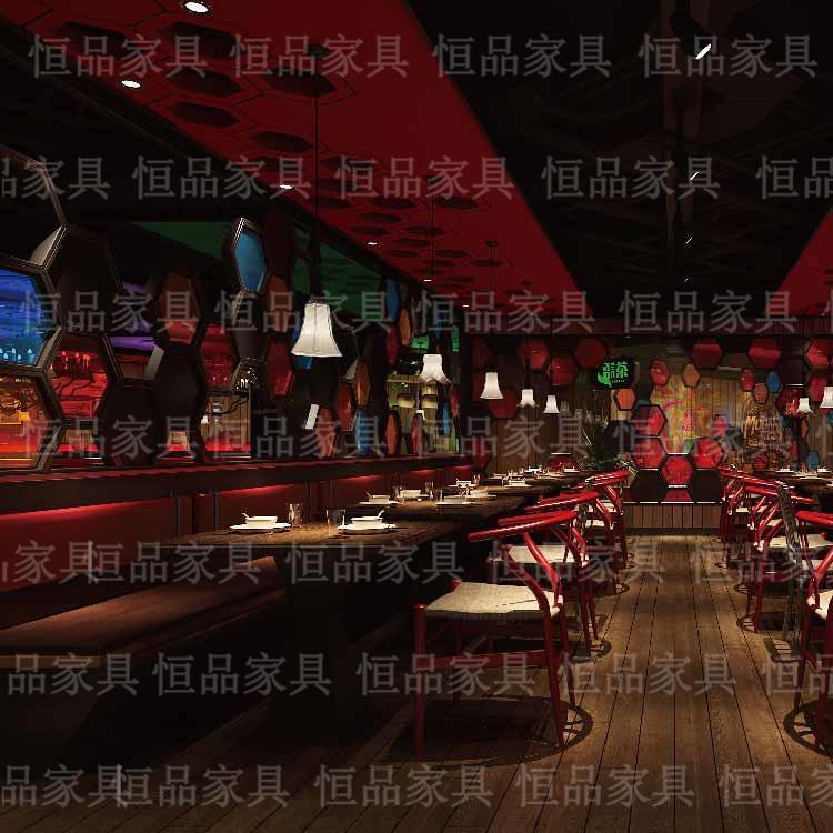 时尚餐厅桌椅定制 合肥恒品家具 主题餐厅桌椅 北欧实木餐桌厂家