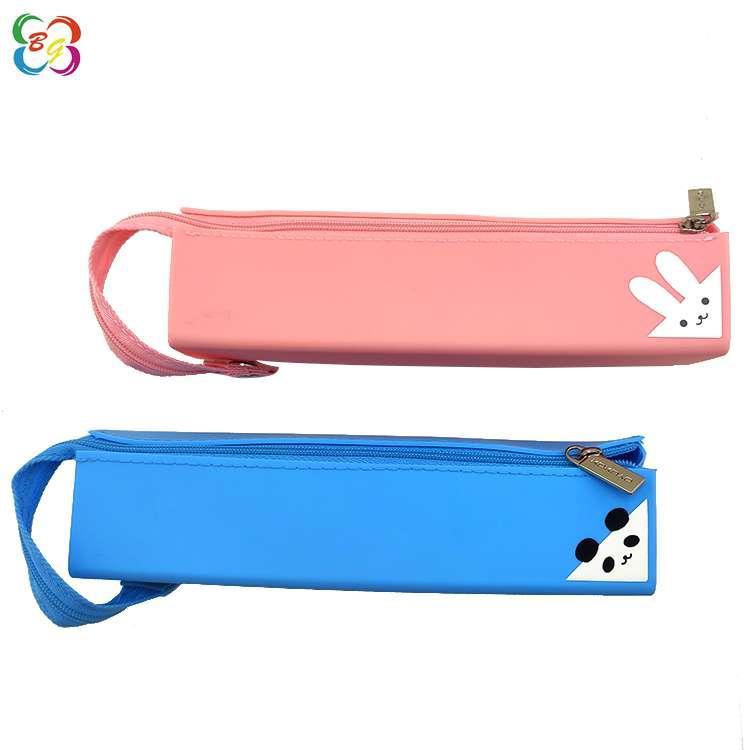 日本硅胶笔袋东莞厂家现模供应对开式卡通立体方形笔袋