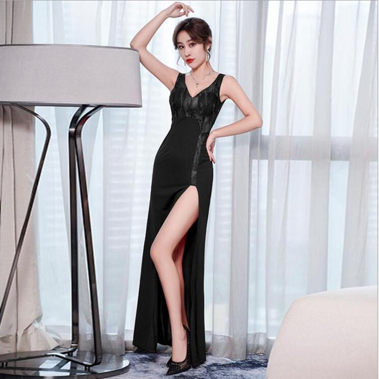 夜店女装低胸吊带时尚性感拼接连衣裙修身显瘦夜场性感女装