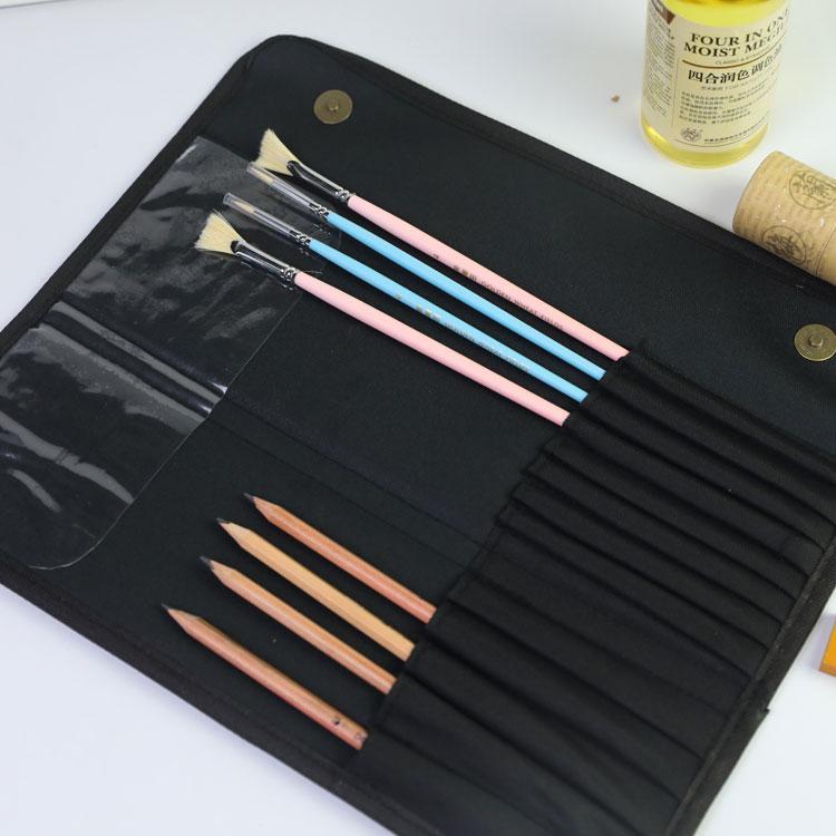 典石7支水粉套笔袋 16孔牛津布拉链笔帘 插笔袋 画笔袋 水粉笔袋