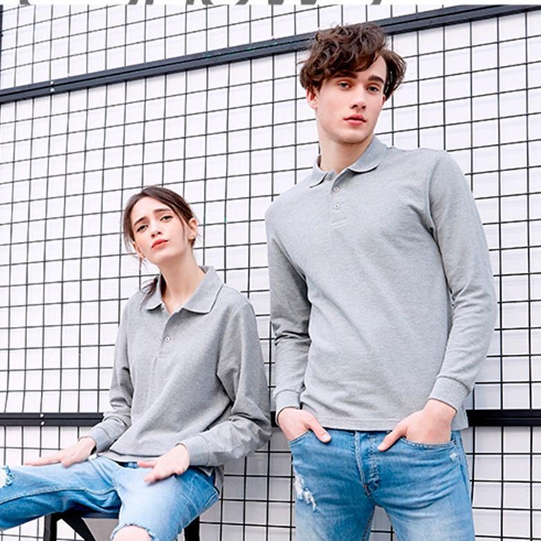 定制长袖POLO厂家找镁琳专业定做长款工作POLO衫印图纯棉长袖T恤
