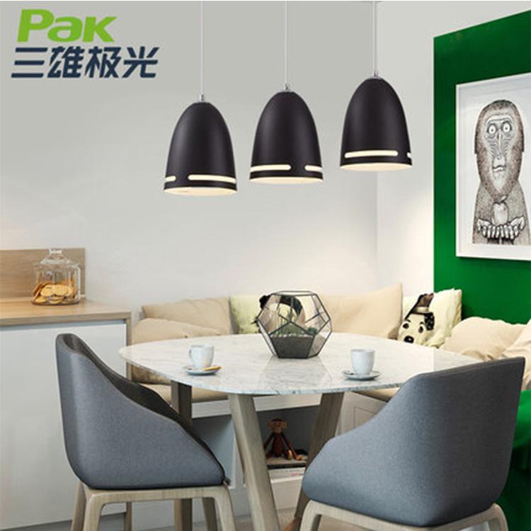 三雄极光 LED餐厅吊灯北欧黑色餐厅灯创意个性吧台灯具三头餐桌灯