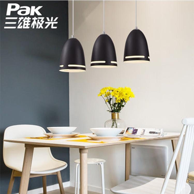 三雄极光 北欧黑色餐厅灯创意个性吧台灯具LED餐厅吊灯三头餐桌灯