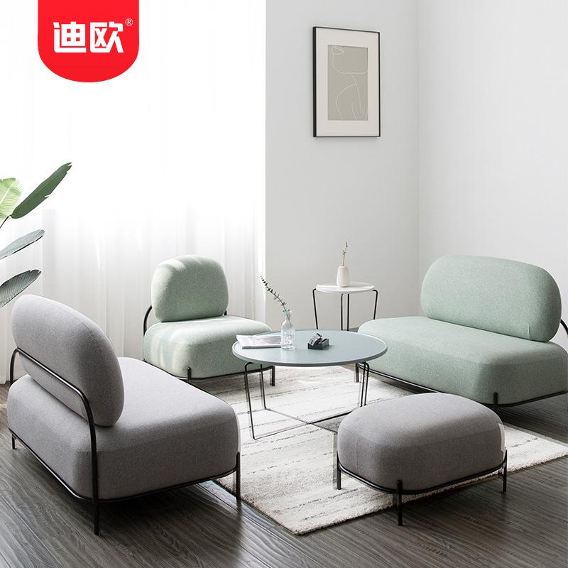 呼和浩特市办公沙发 简约现代家用休闲沙发 创意布艺单人位沙发 马卡龙沙发 迪欧