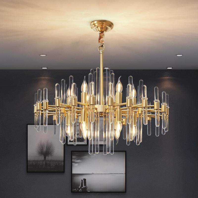 轻奢水晶吊灯具 后现代客厅餐厅吊灯 北欧全铜吊灯双庆灯饰