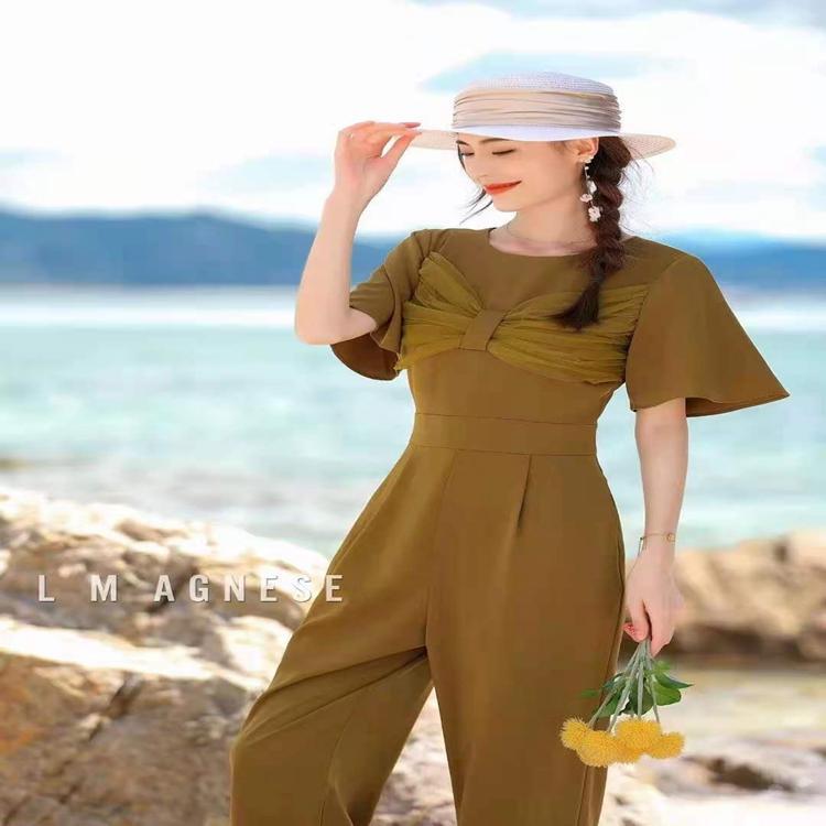 简爱格妮斯2021年夏季新款连体裤拼接网纱蝴蝶结抹胸高腰版型