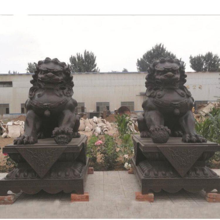 铜门狮直销 夺艺雕塑 卧式铜门狮设计 定做铜门狮