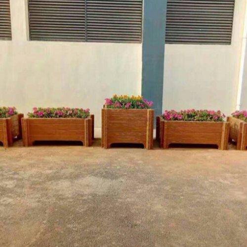 户外花桶仿木 丽景建材 方形纺木纹模具户外花桶市政