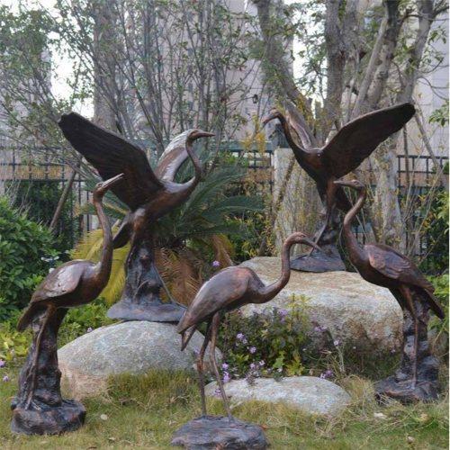 大型草地景观铜鹤电话订购 手工草地景观铜鹤专业铸造 进忠雕塑