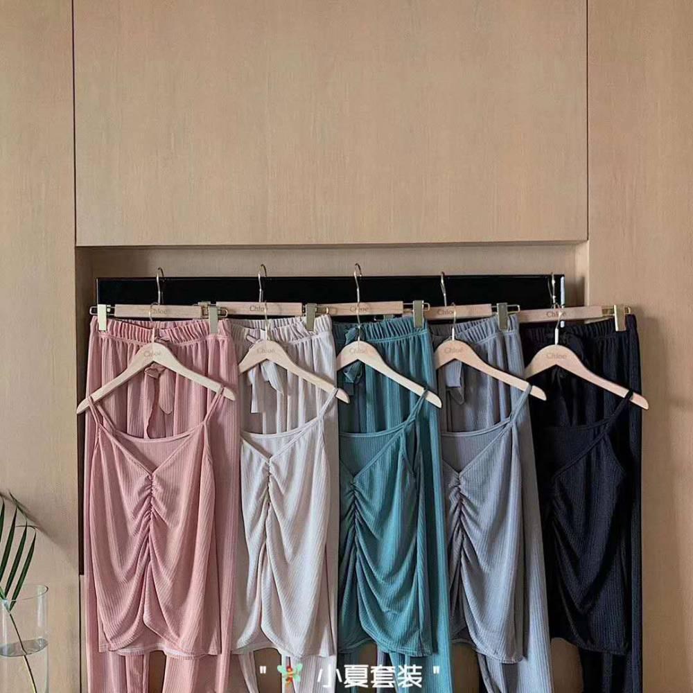 网红小夏套装夏季新款吊带束脚裤两件套时尚休闲性感显瘦居家外穿