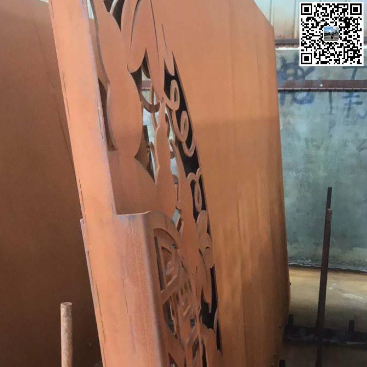 耐候锈钢板做旧 卓纳钢铁 景观围墙耐候锈钢板镂空
