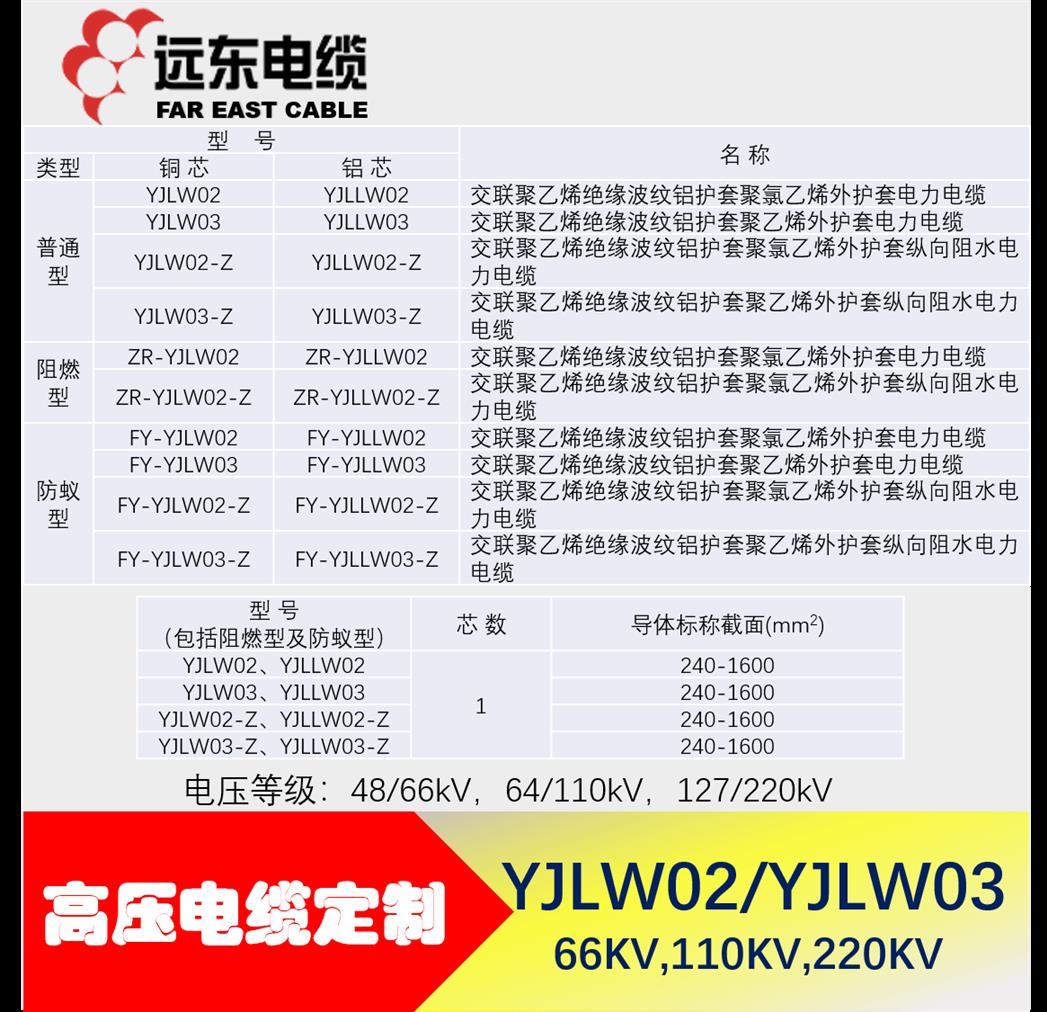 北京超高压电缆定做 YJLW02-110KV 220KV