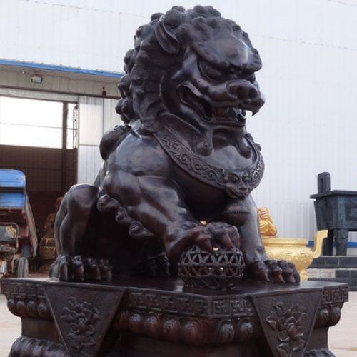 昌盛雕塑 大型风水铜狮子生产厂家 风水铜狮子生产厂家