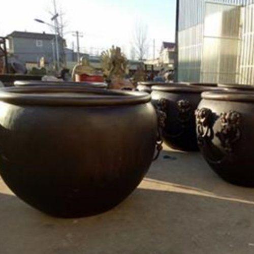 大型风水铜大缸现货 宏达雕塑 1.2米风水铜大缸定做