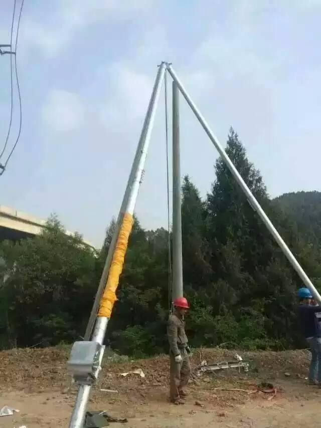 青海 三脚架立杆机 铝合金三脚架立杆器  水泥电线杆支架立杆机 东亨电力