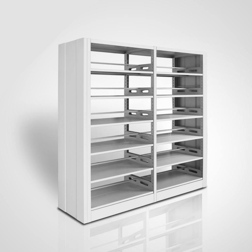 专业定制生产钢制木纹书架、 双柱双面钢制书架 阅览室/图书馆书架 书店专用、期刊书梯批发