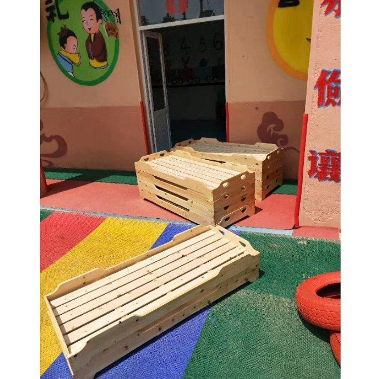 幼儿园午睡实木床 儿童午休双层单人床 幼儿园专用松木儿童床