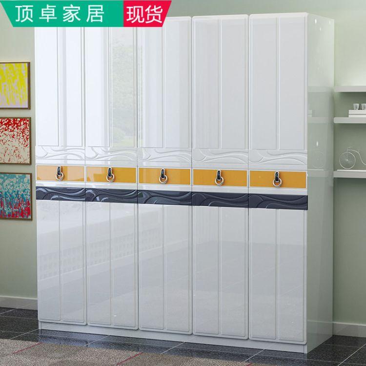 顶卓家居 现代衣柜厂家现代简约烤漆衣柜整体板式亮光五门2米主卧卧房衣 柜衣橱