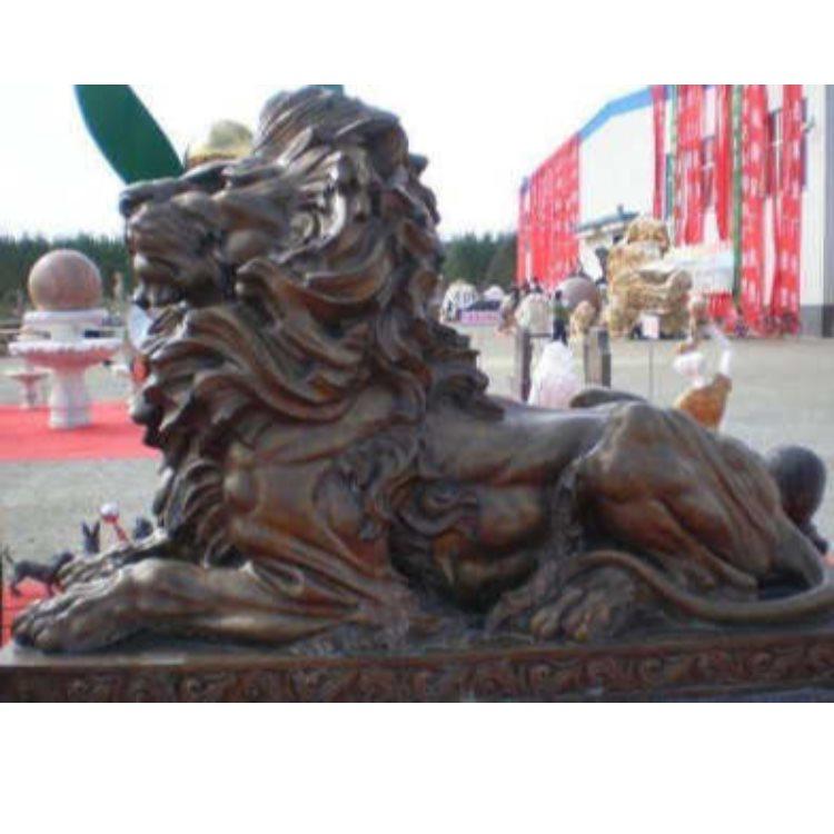 大型铜门狮 大型铜门狮直销 夺艺雕塑 定做铜门狮设计
