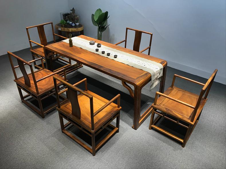 南美胡桃木 实木茶桌椅组合 实木茶台家用新中式茶具品  自然边 成品