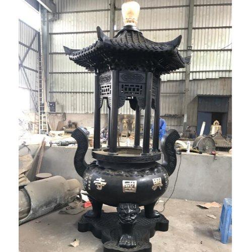 大型室内铜香炉铸造厂 大型室内铜香炉定做 茂来雕塑