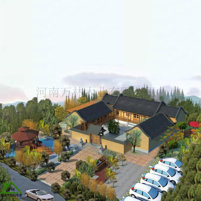 中式木屋设计 万林优质木屋 别墅木屋质量材质上乘