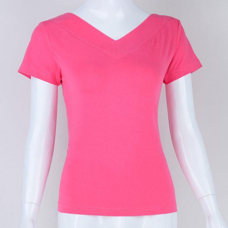 18夏季热销女装短袖t恤女士  V领女装全色女式T恤 一件代发