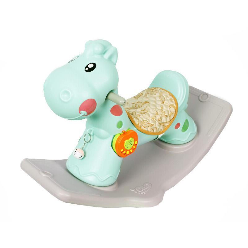 宝宝摇摇马带音乐小木马儿童玩具一岁室内周岁摇马婴儿塑料车长颈