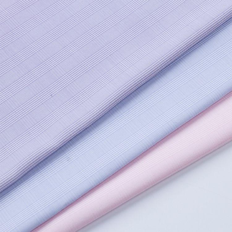 厂家现货格子衬衫面料竹纤维商务男装服装工作服面料涤棉TC口袋布