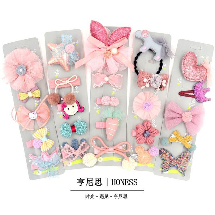 新款儿童发饰五件套装韩版布艺头饰卡通动物皮筋发夹组合一件代发