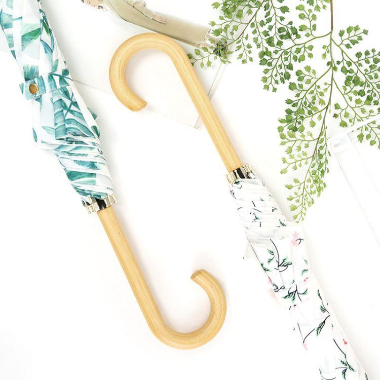 新款8骨创意印花木弯柄晴雨伞两用文艺女学生长柄直杆伞批发定制