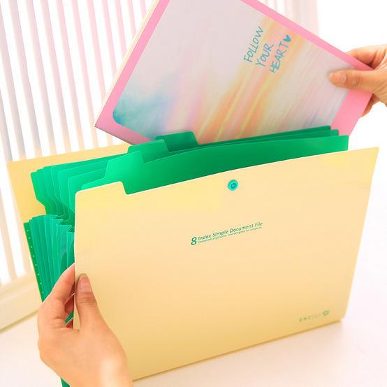 韩式文具 8入文件夹 A4资料夹 PP文件收纳夹 试卷分类风琴包批发