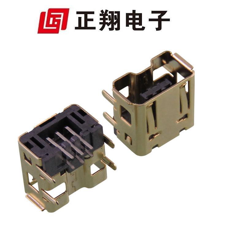 厂家供应 电动游戏机用接口 充电插座 环保 V母插座 侧插式安装