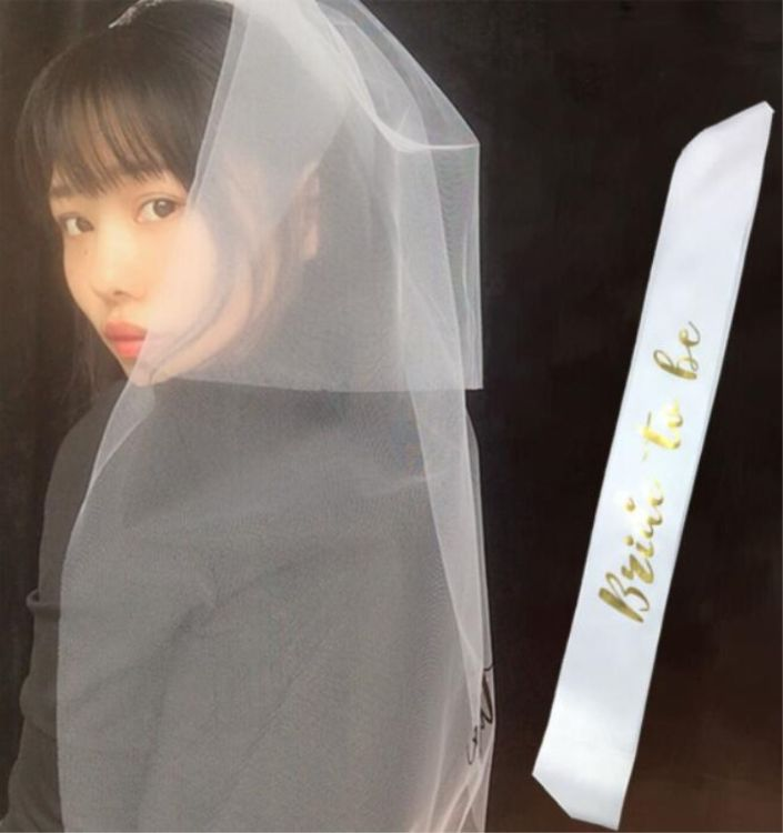 婚礼新娘装饰bride to be头纱 单身派对新娘头纱肩带两件套