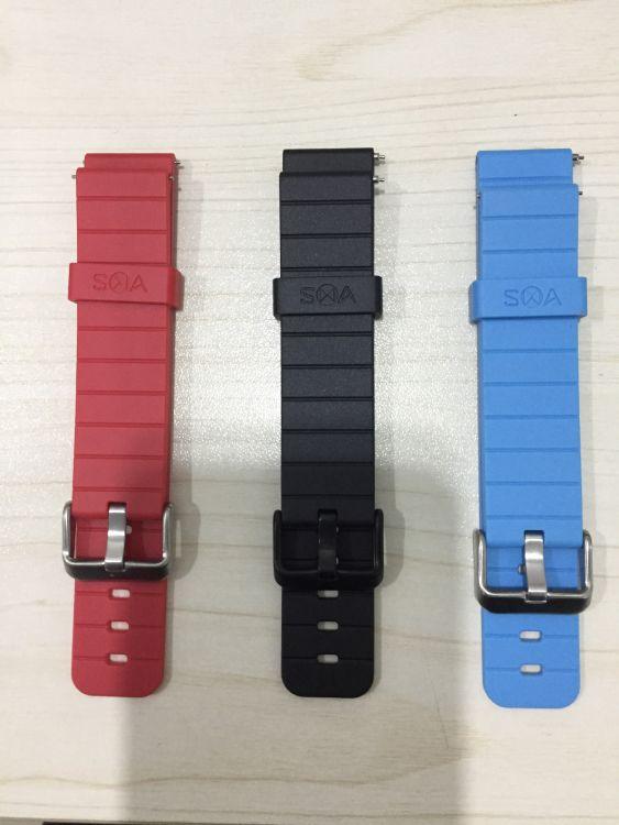 SMA 小Q2表带TPU硅胶塑料标准表带黑色红色蓝色智能手表表带保修
