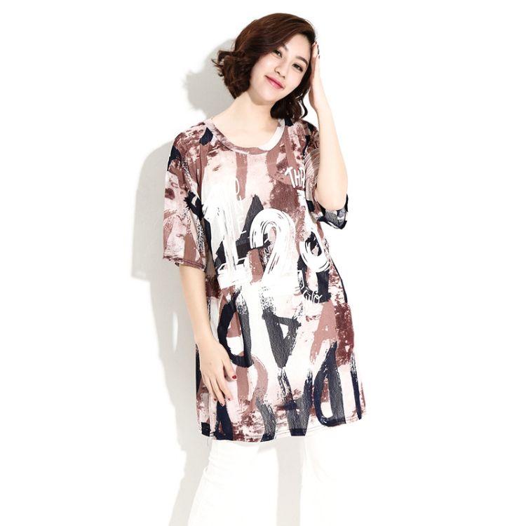 2017夏季新款女 欧美胖MM大码女装 印花镂空高端棉麻上装T恤 短袖
