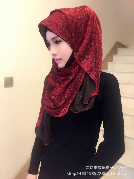 穆斯林头巾 新款豹纹金丝烫金印花 女纱巾回族盖头多色速卖通爆款