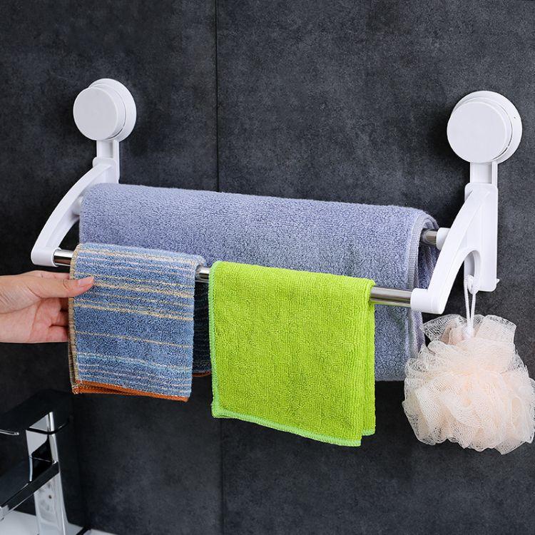 厂家批发吸盘式双杆毛巾架 洗手卫生间置物架 不锈钢毛巾挂杆