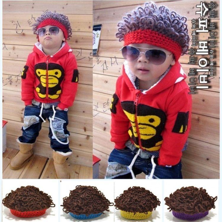 秋冬爆潮款假发儿童针织潮帽子 爆炸毛线卷发款儿童帽