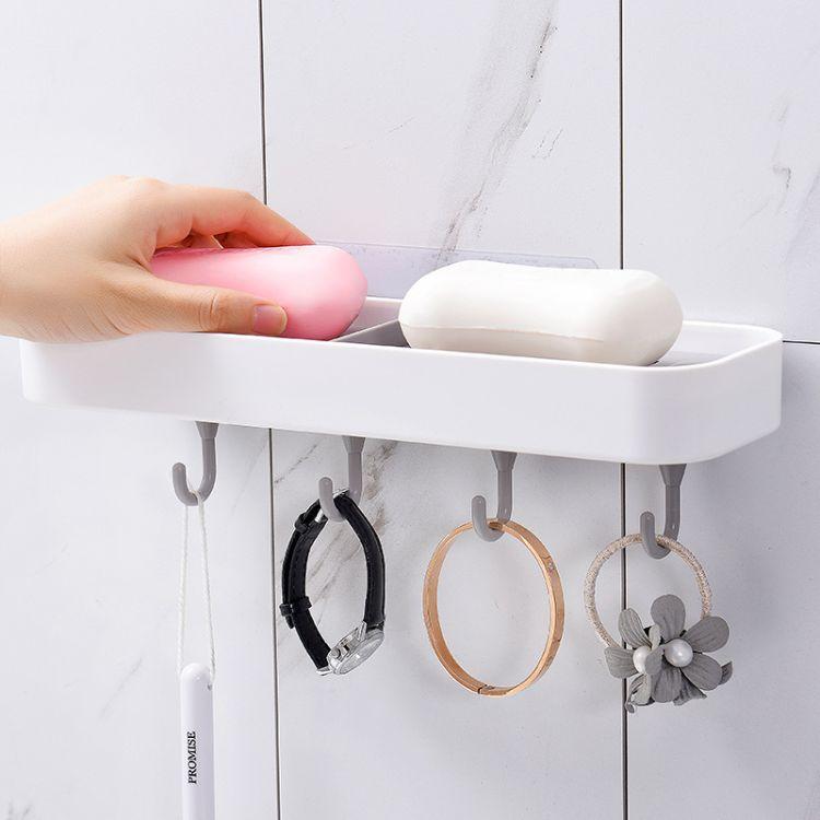 吸盘挂壁式双层肥皂盒 卫浴创意沥水盒 ABS加厚材质皂盒架直销