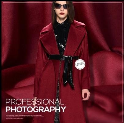尊贵酒红双面双层羊绒羊毛布料酒红色服装面料酒红双面呢面料限量
